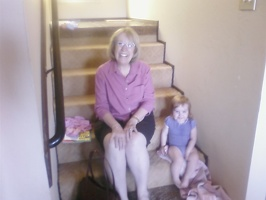 Grandma & Maggie on the stairs